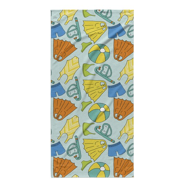 Rectangle Blue/Yellow/Brown Beach Towel by Rosecliff Heights
