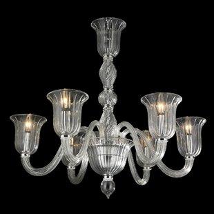 Colored glass chandelier wayfair melvina 6 light glass shaded chandelier aloadofball Images