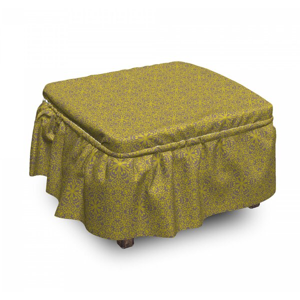 Oriental Floral Hexagonal Ottoman Slipcover (Set Of 2) By East Urban Home
