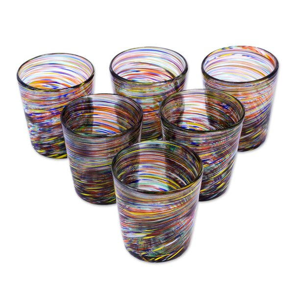 Rainbow Centrifuge Blown Juice Glass (Set of 6) by Novica