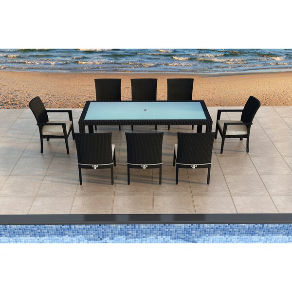 Azariah 9 Piece Sunbrella Dining Set with Cushions by Orren Ellis