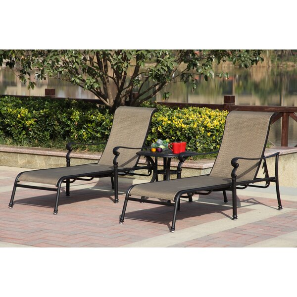 Bagwell Reclining Chaise Lounge Set with Table by Darby Home Co