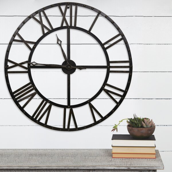 Divya Oversized Bronze Metal 33.75 Wall Clock by Gracie Oaks