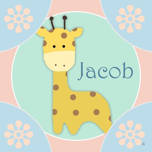 Little Giraffe Personalized Canvas Art by Green Leaf Art
