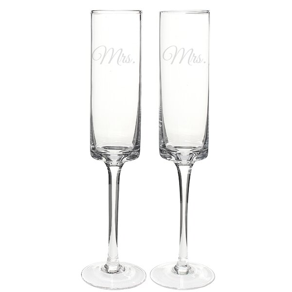 Mrs. and Mrs. Contemporary 8 oz. 2 Piece Champagne Flute Set by Cathys Concepts