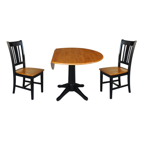 Peterkin Round Top 3 Piece Drop Leaf Solid Wood Dining Set by Alcott Hill Alcott Hill