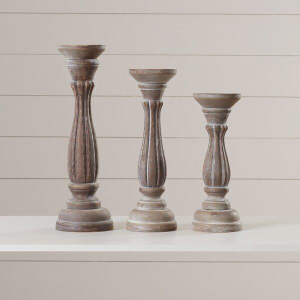 3 Piece Pillar Candlestick Set By Lark Manor.