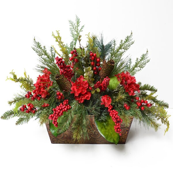 Pine and Berry Christmas Floral Arrangement by Floral Home Decor