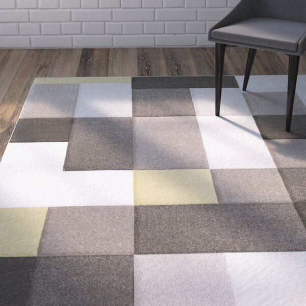 Mott Street Modern Geometric Carved Brown/Yellow Area Rug by Wrought Studio