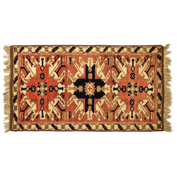 One-of-a-Kind Hand-Woven Wool Orange/Ivory Area Rug by Exquisite Rugs