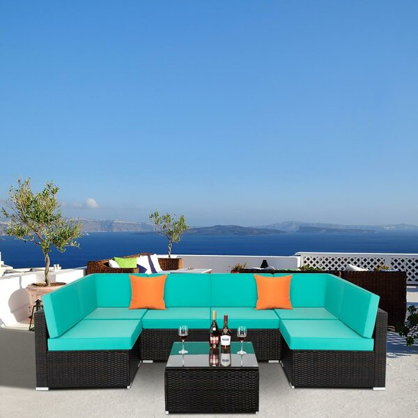 Wikieup 7 Piece Rattan Sectional Seating Group with Cushions by Ebern Designs Ebern Designs