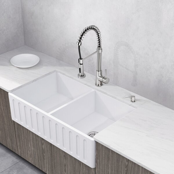 Stone 36 L x 18 W Double Basin Farmhouse Kitchen Sink with Faucet by VIGO