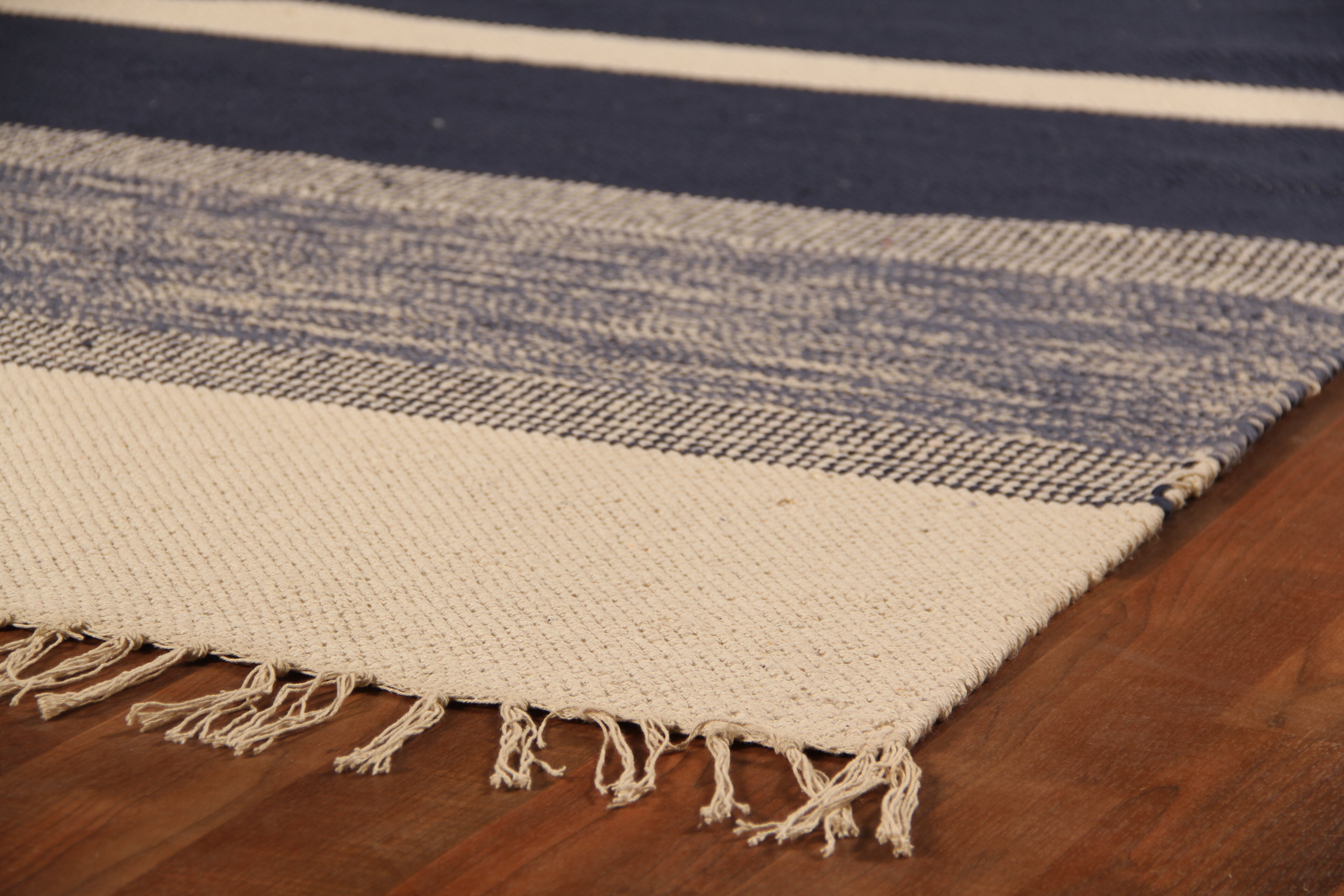 Soft Flat Weave Hand Woven Cotton Navy Area Rug