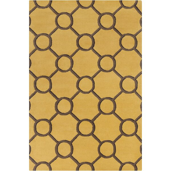 Burns Patterned Contemporary Wool Yellow/Brown Area Rug by Wrought Studio