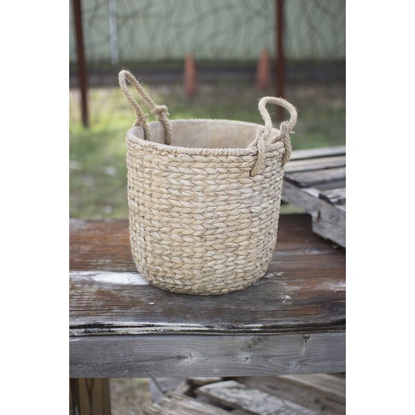 Hudkins Large Braided Jute Handles Cement Pot Planter by Highland Dunes