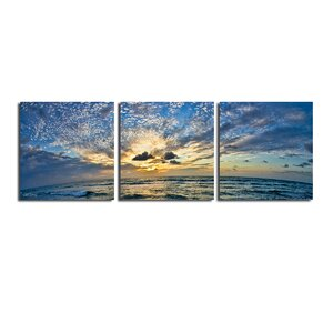Ocean' 3 Piece Photographic Print on Wrapped Canvas Set by Latitude Run