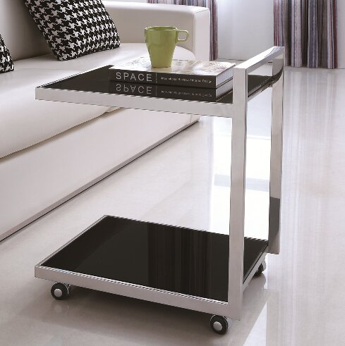 Luxe Glass and Steel Bar Cart by Pasargad