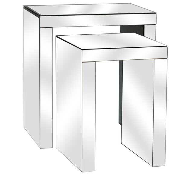 Lauritzen Beveled Mirror 2 Piece Nesting Tables by House of Hampton