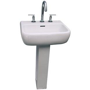 Metropolitan 520 Vitreous China Rectangular Pedestal Bathroom Sink with Overflow Barclay