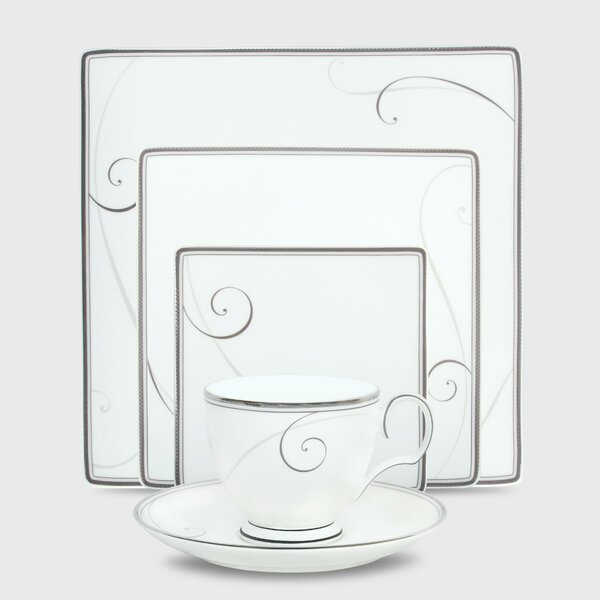 Platinum Wave Square 5 Piece Place Setting, Service for 1 by Noritake