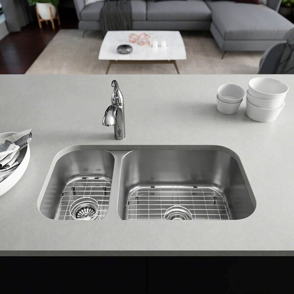 Stainless Steel 32 L x 18 W Double Basin Undermount Kitchen Sink with Additional Accessories by René By Elkay