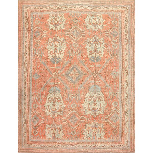 One-of-a-Kind Turkish Hand-Knotted 1900s Blue 14'2 x 20' Wool Area Rug
