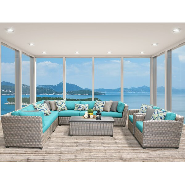 Meeks 10 Piece Sectional Seating Group with Cushions by Rosecliff Heights