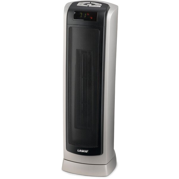 Ceramic 1,500 Watt Portable Electric Tower Heater with Thermostat by Lasko