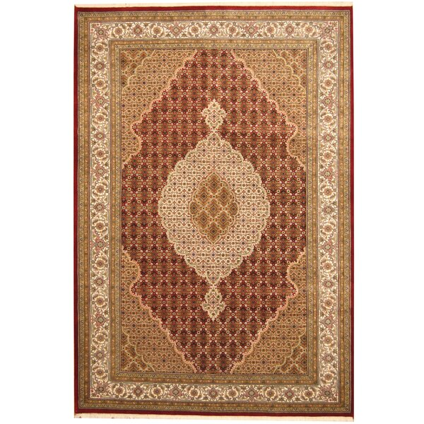 Tabriz Hand-Knotted Red/Ivory Area Rug by Herat Oriental