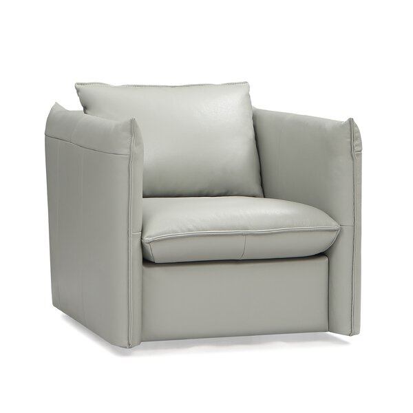 Leininger Leather Swivel Armchair by Ivy Bronx Ivy Bronx