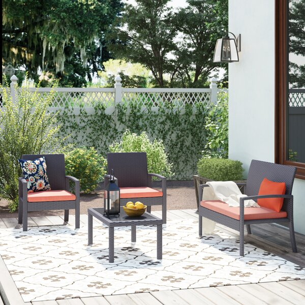 Breen 4 Piece Rattan Sofa Seating Group with Cushions by Andover Mills
