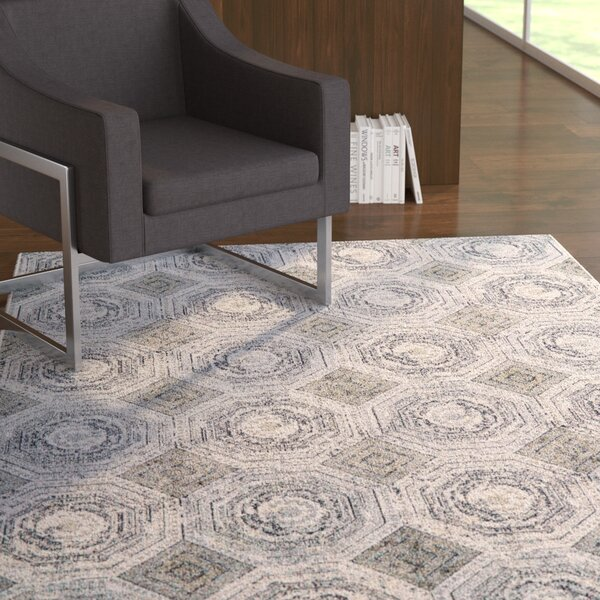 Ewers White/Sterling Area Rug by Ebern Designs