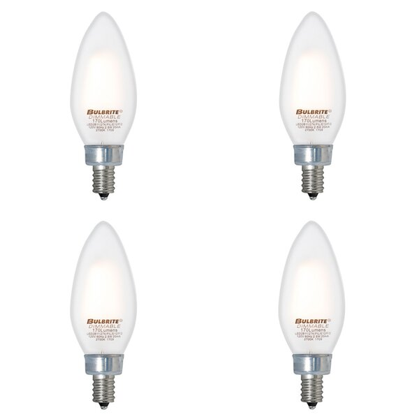 E12 Dimmable LED Candle Light Bulb Frosted (Set of 4) by Bulbrite Industries