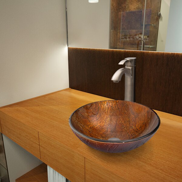 Kenyan Twilight Glass Circular Vessel Bathroom Sink with Faucet by VIGO