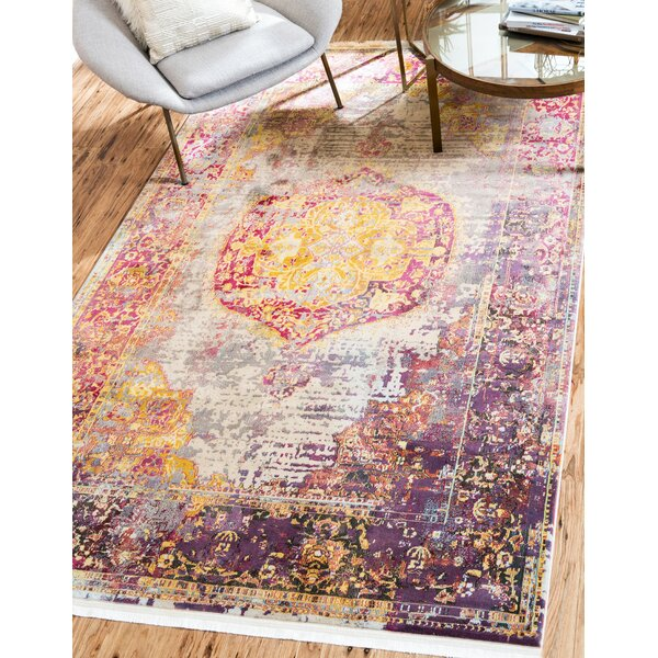 Lonerock Purple/Pink/Yellow Area Rug by Bungalow Rose