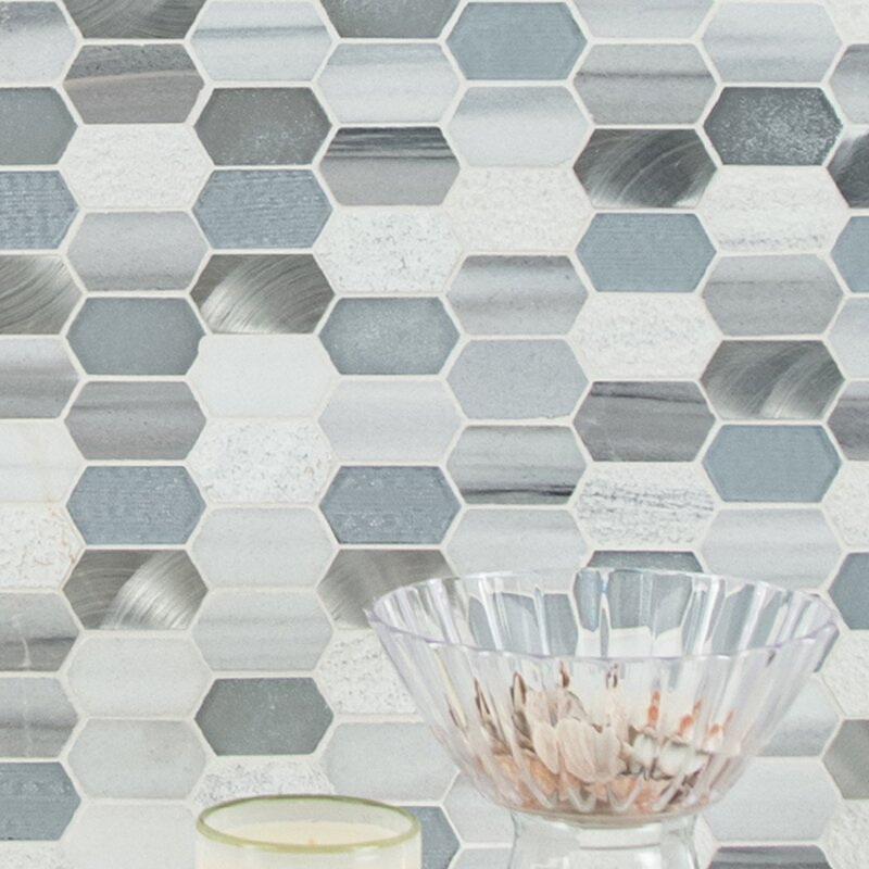 MSI Harlow Picket Glass/Stone Mosaic Tile In Gray