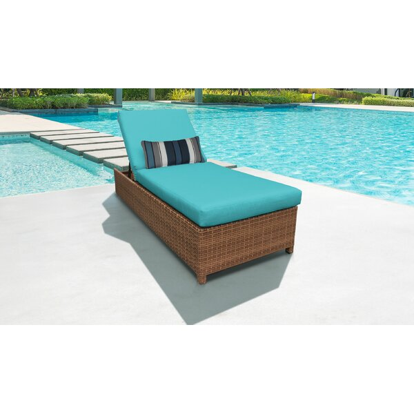 Waterbury Wheeled Outdoor Wicker Reclining Chaise Lounge with Cushion by Sol 72 Outdoor Sol 72 Outdoor