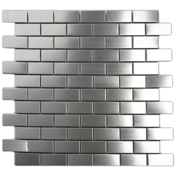 1 x 2 Stainless Steel Mosaic Tile in Silver by CNK Tile