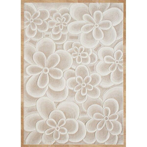 Alliyah Bleach Flowers Tan Area Rug by James Bond