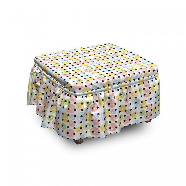 Scribble Rounds Polka Dots Ottoman Slipcover (Set Of 2) By East Urban Home
