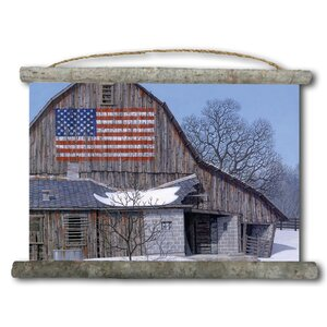 'Old Barn Old Glory' Painting Print on White Canvas by WGI-GALLERY