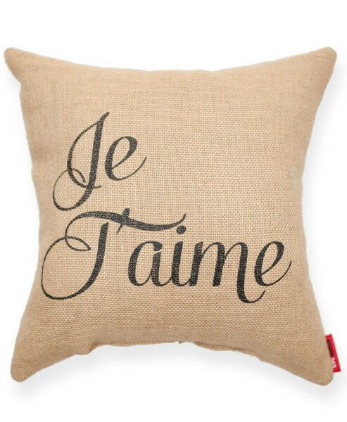 Expressive Je Taime Decorative Burlap Throw Pillow by Posh365