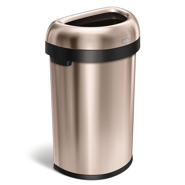 16 Gallon Semi-Round Open Trash Can, Heavy-Gauge Rose Gold Steel by simplehuman