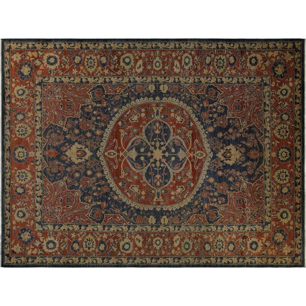 Badham Hand-Knotted Wool Blue/Rust Area Rug by Bloomsbury Market