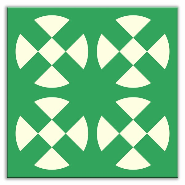 Folksy Love 4-1/4 x 4-1/4 Glossy Decorative Tile in Hot Plates Green by Oscar & Izzy