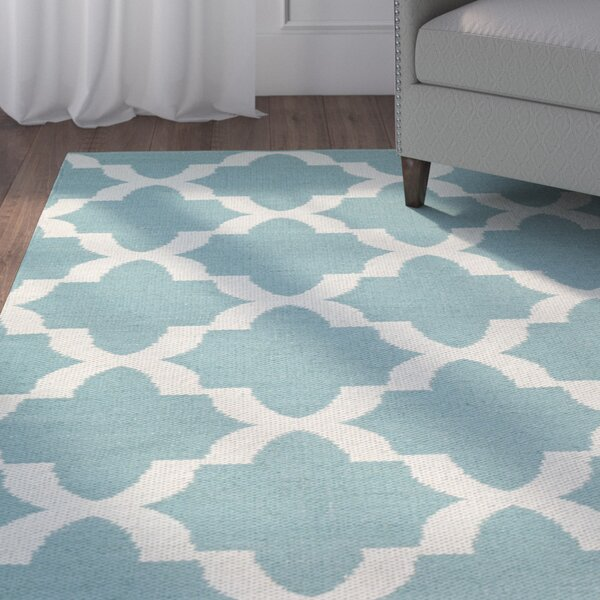 Tyesha Hand-Tufted Teal/White Indoor/Outdoor Area Rug by Winston Porter