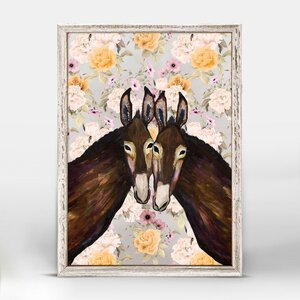'Donkey Duo - Floral' Framed Acrylic Painting Print by Bungalow Rose
