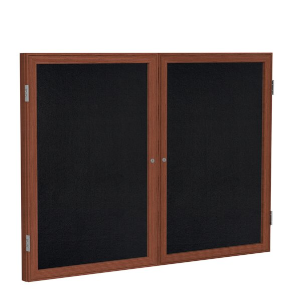 Ghent 2 Door Enclosed Recycled Rubber Bulletin Board with  Wood Frame by Ghent