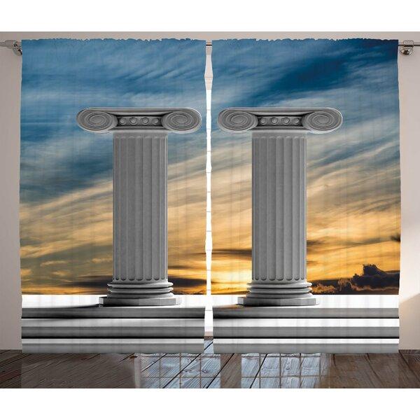 Ashlyn Pillar Graphic Print & Text Semi-Sheer Rod Pocket Curtain Panels (Set of 2) by Ebern Designs