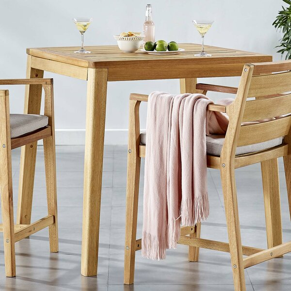 Evelin Wooden Bar Table by Rosecliff Heights